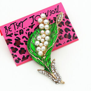 Betsey-Johnson-Green-Enamel-Crystal-Pearl-Leaf-Charm-Women-039-s-Brooch-Pin-Gift