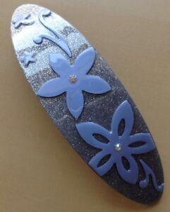 Un Joli Bleu Design Fleur Ovale Barrette à Cheveux