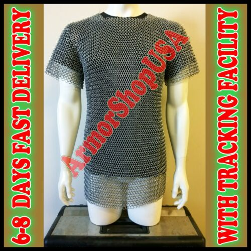 ALUMINIUM CHAIN MAIL SHIRT BUTTED CHAINMAIL HAUBERGEON MEDIEVAL COSTUME ARMOUR