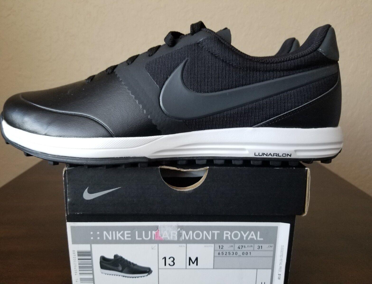 Nuove nike mont royal golf lunare scarpe da golf spuntoni neri e bianchi uomo numero 13