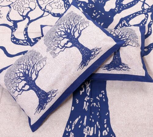 100/% Cotton Hand Printed Indian Double Tapestry Bedsheet with 2 Pillow Covers A