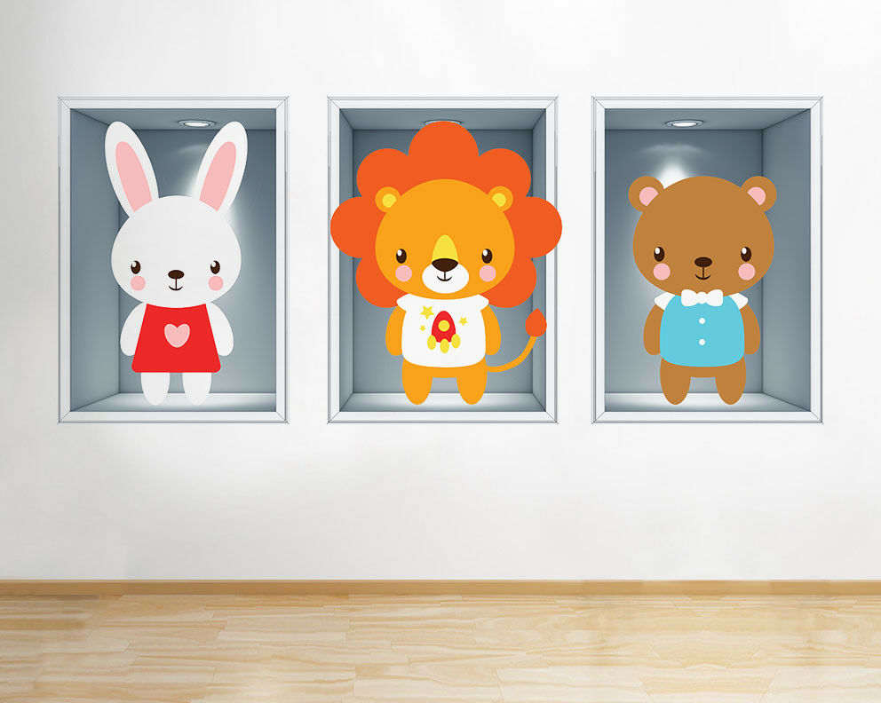 G591 Nursery Animals Lion Bear Kids Window Wall Decal 3D Art Stickers Vinyl Room