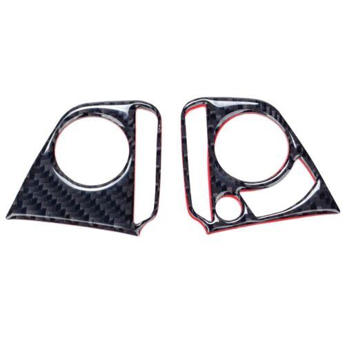 2x Carbon Fiber Steering Wheel Button Cover Trim Decor For 2016 Honda Civic GL