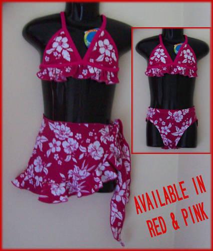 Sz 4 BIKINI  Pink 3 pc Girls SWIMWEAR TOGS BATHERS