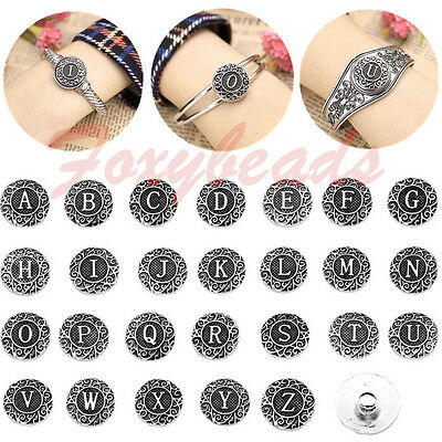 26 Alphabet Carved A-Z Letter Charms Snap Button Bead Fit Buckle Bracelet DIY