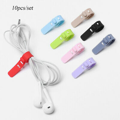 10PCS Multifunction Silicone Earphone Cord Winder Organizer Cable Holder Clips