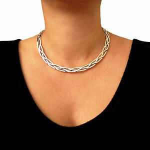 Large 925 Hallmarked Sterling Silver Woven Choker Torc Gift Boxed PSXQ8NSJg