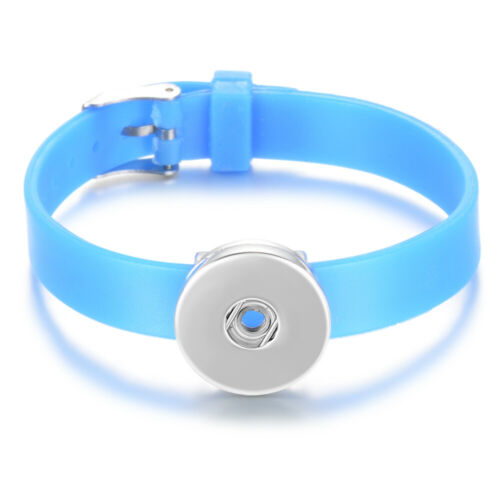 10pcs Silicone Bracelet 20cm fit 18mm Snap Buttons DIY Snap Jewelry for Child