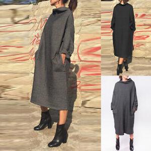 Mode-Femme-Robe-Simple-Chaud-Col-Haut-Manche-longue-Droit-Jupe-Sweat-shirt-Plus