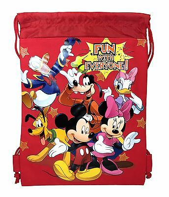 Blue Mickey Mouse Drawstring Backpack Disney Sling Tote School Kids Gym Bag :
