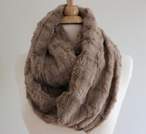 infinity print reversable products soft brown black animal fur silky wrap scarf reversible gold cream faux