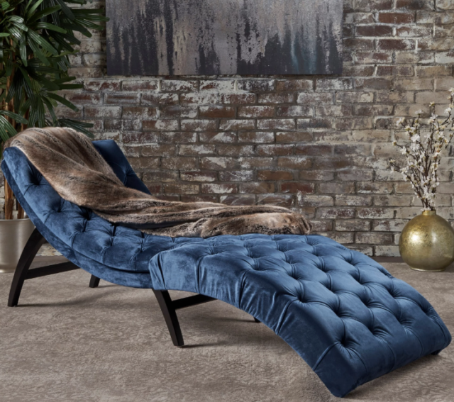 Terrific Chaise Lounge Chair Sofa Daybed Curved Lounger Bedroom Tufted Blue Velvet New Machost Co Dining Chair Design Ideas Machostcouk