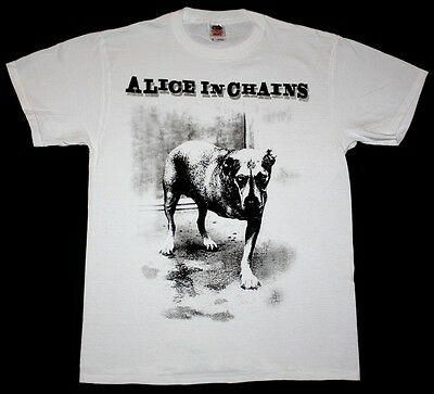 ALICE IN CHAINS DOG GRUNGE SEATTLE PEARL JAM SOUNDGARDEN HOLE NEW  WHITE T-SHIRT