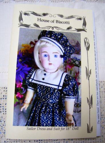 """18/""""   Sailor Dress PATTERN for Antique Doll Jacket and Hat     German Kestner"""