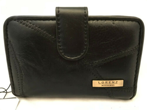 Lorenz Patch Leather Purse Black Card Holder Clip Top