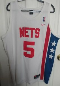 sale retailer e00ba d202f Details about Rare Vintage Jason Kidd Nets White Nike Team Jersey size XL #5