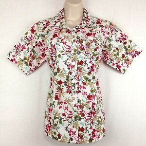 Ariat-Western-Shirt-Womens-M-Short-Sleeve-Red-Green-White-Floral-Pearl-Snap