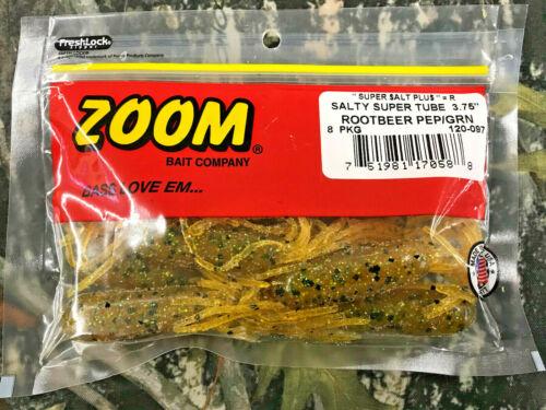 "SOFT PLASTIC FISHING BAIT ROOTBEER PEP//GRN ZOOM SALTY SUPER TUBE 3.75/"""
