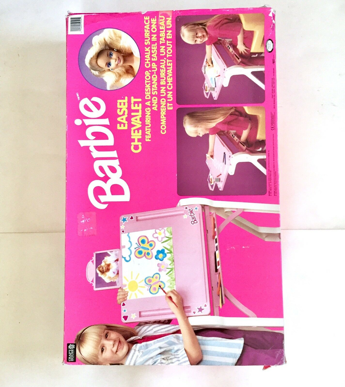Barbie 1992 rosadododo Niñas Niños Tamaño Completo Artista Craft caballete Chevalet Craft House