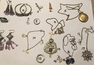 Nice-interesting-lot-of-old-amp-Antique-jewellery-Silver-Etc