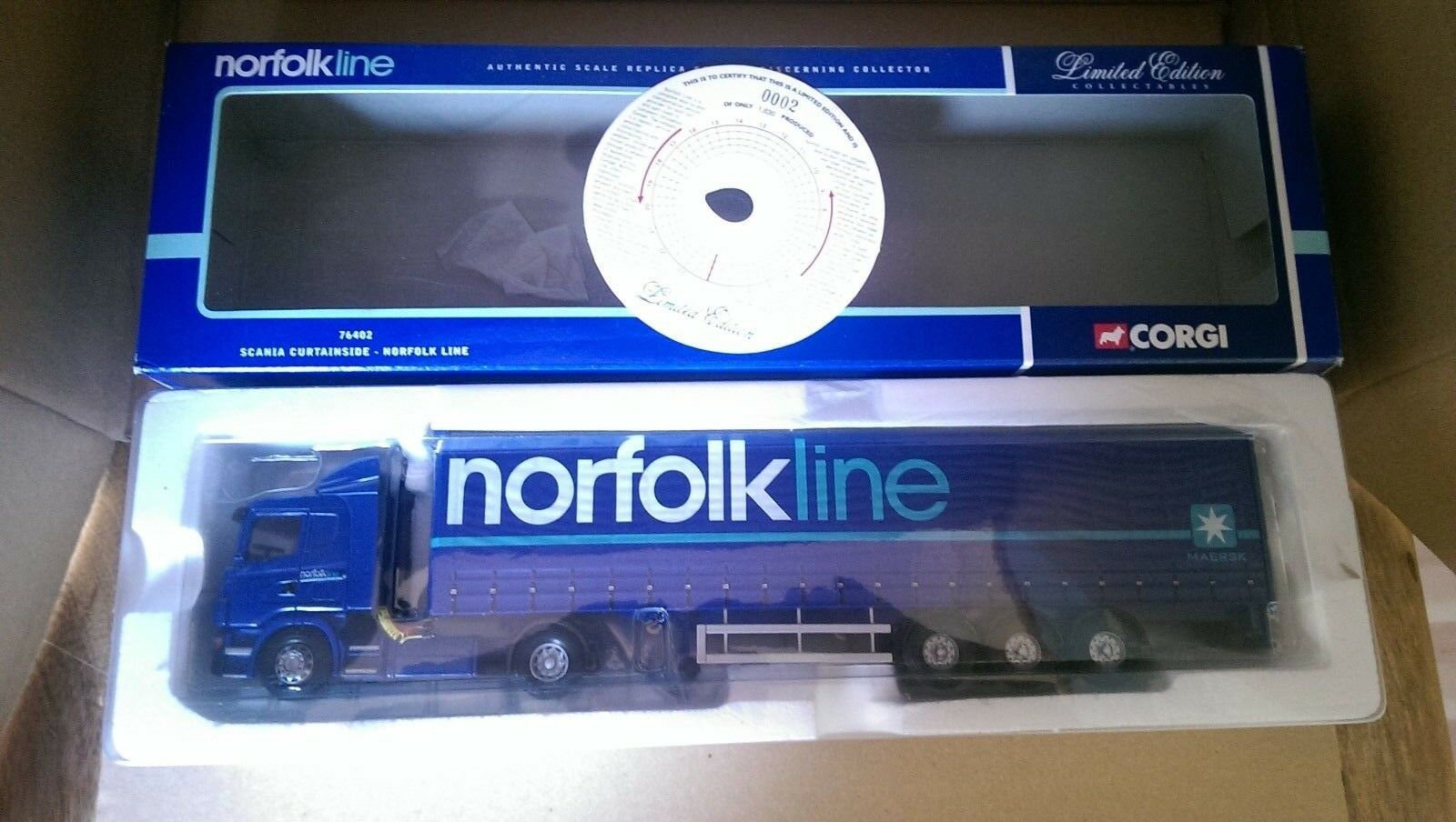 Corgi 76402 Scania Curtainside Norfolk Line Ltd Edition No. 0002 of ONLY 1630