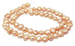 Suesswasserperlen-Nuggets-mit-rosa-Schimmer-6-8-mm-Muschel-Perlen-Strang