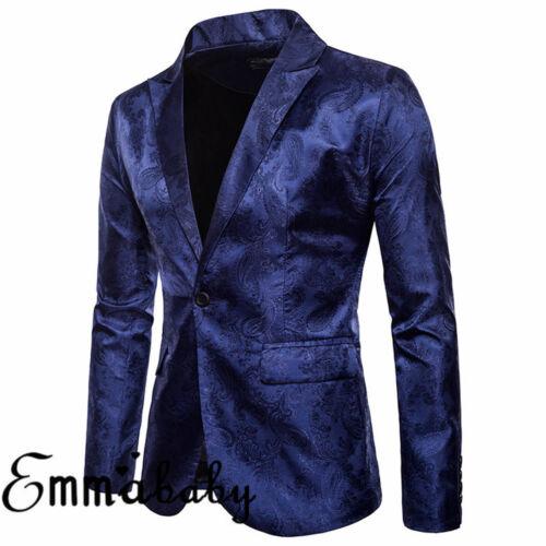 Men/'s Slim Fit One Button Formal Business Casual Suit Blazer Coat Jacket Tops