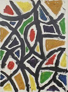 """ Composition Abstraite Collage 20 "" Huile / Acrylique / Lwd Atrribution"