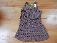 Pretty Rebellious Crochet Belted Tunic Tank Tee Junior Medium