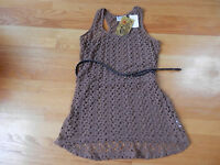 Pretty Rebellious Crochet Belted Tunic Tank Tee Junior Medium