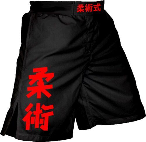 Jiu Jitsu Kanji MMA Shorts BJJ Grappling Training No Gi Wrestling Fight 4034