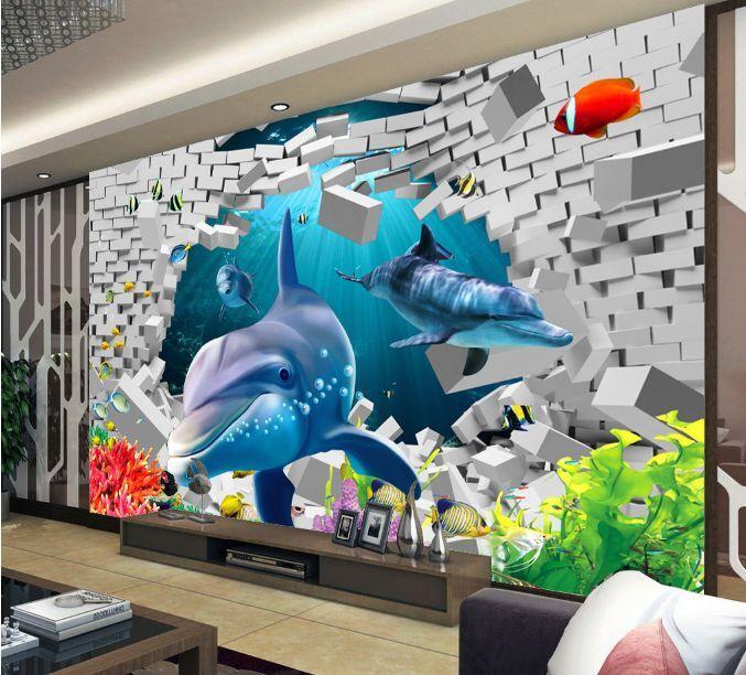 3D Dauphin Marine 4 Photo Papier Peint Art en Autocollant Murale Plafond Chambre Art Peint 1ccf44