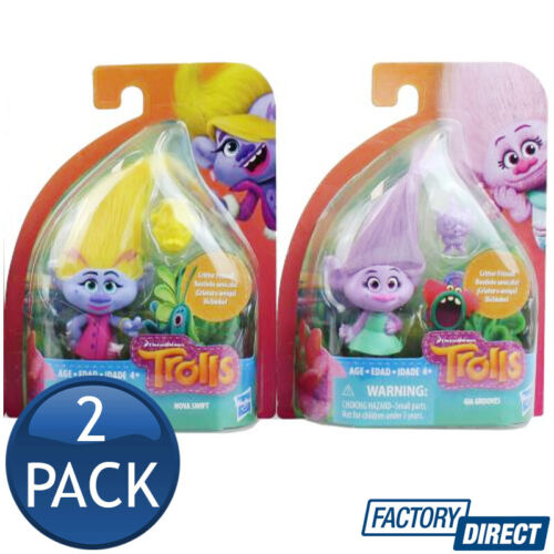 2 x HASBRO DREAMWORKS TROLLS SMALL TOWN COLLECTABLE ACTION FIGURE DOLL KIDS TOYS