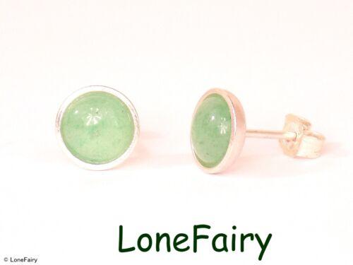 Solid 925 Sterling Silver Genuine Gemstone Round Stud Earrings Onyx Lapis Quartz