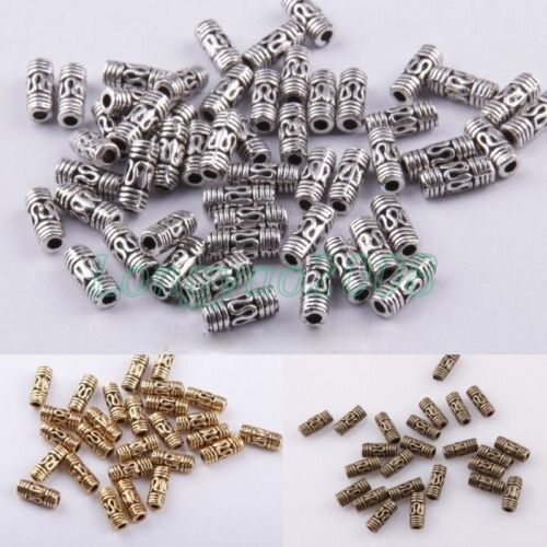 8mm New Tibetan Silver Column Tube Spacer Beads Jewelry Making Findings 50 Pcs