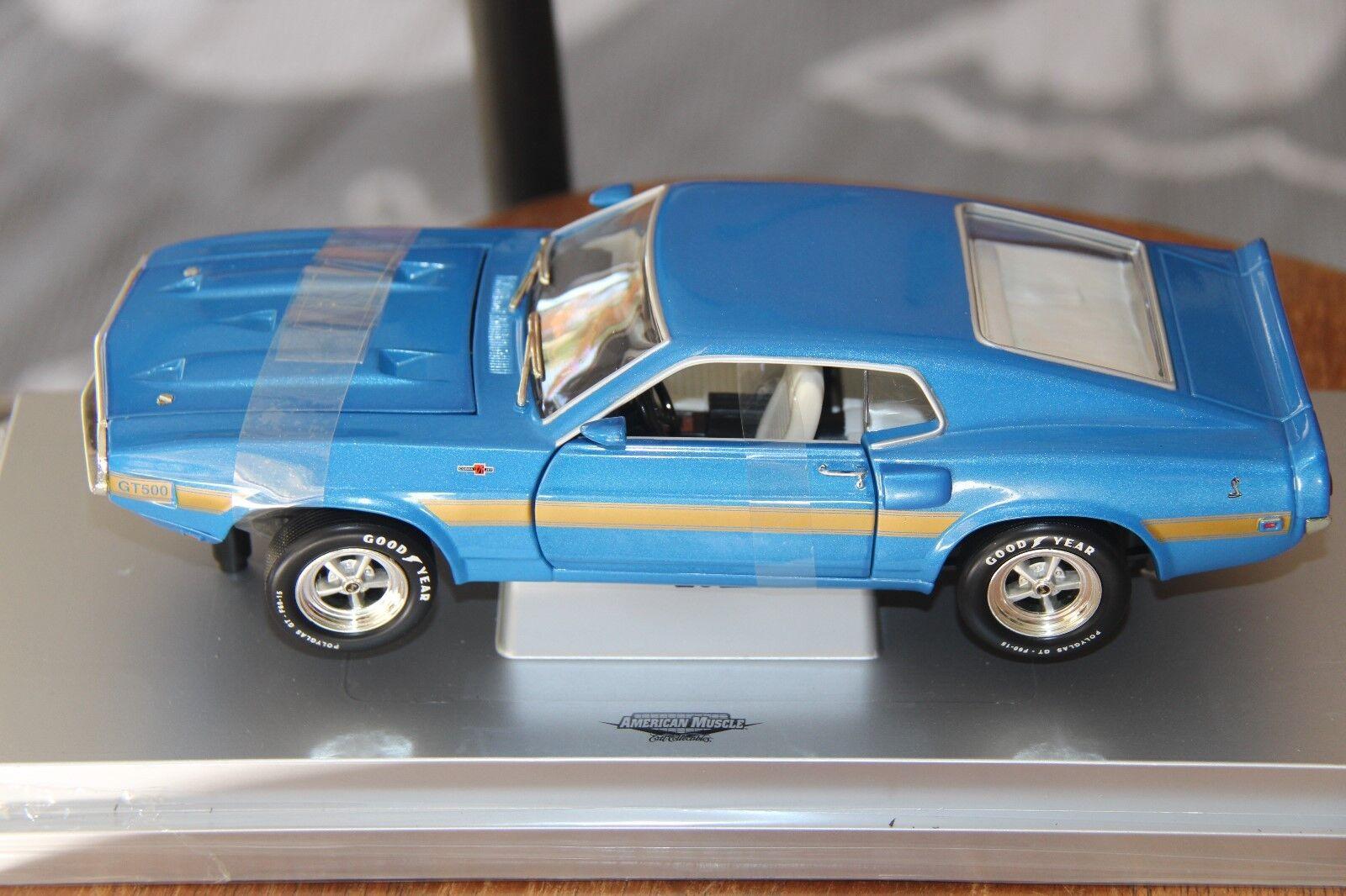 Shelby GT500 1969, bluee gold, ERTL American Muscle 33962, 1 18, Rare Model