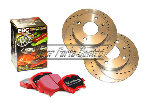 FOR HONDA CIVIC TYPE R EP3 REAR DRILLED GROOVED BRAKE DISCS EBC RED STUFF PADS