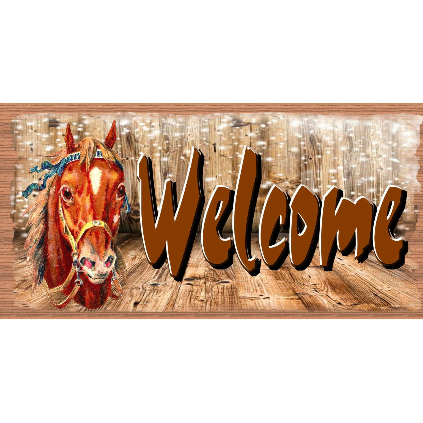 Western Wood Signs - Welcome Plaque -GS 2747 - Horse Sign
