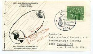 1962 Rakete Drg Befordert Zierenderg Hamurg Hermann Schafft Haus Kassel Space