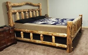 New! King Log Bed   Deluxe double log sided. Log Furniture Free Shipping, Rustic