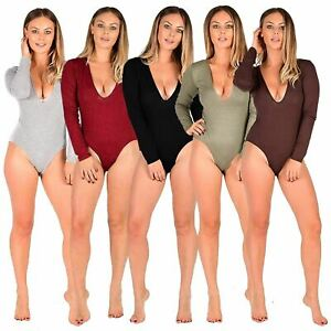 NEW WOMENS LADIES PLUNGE V NECK SOFT LOOK SLINKY SLEEVELESS BODYSUIT TOP LEOTARD