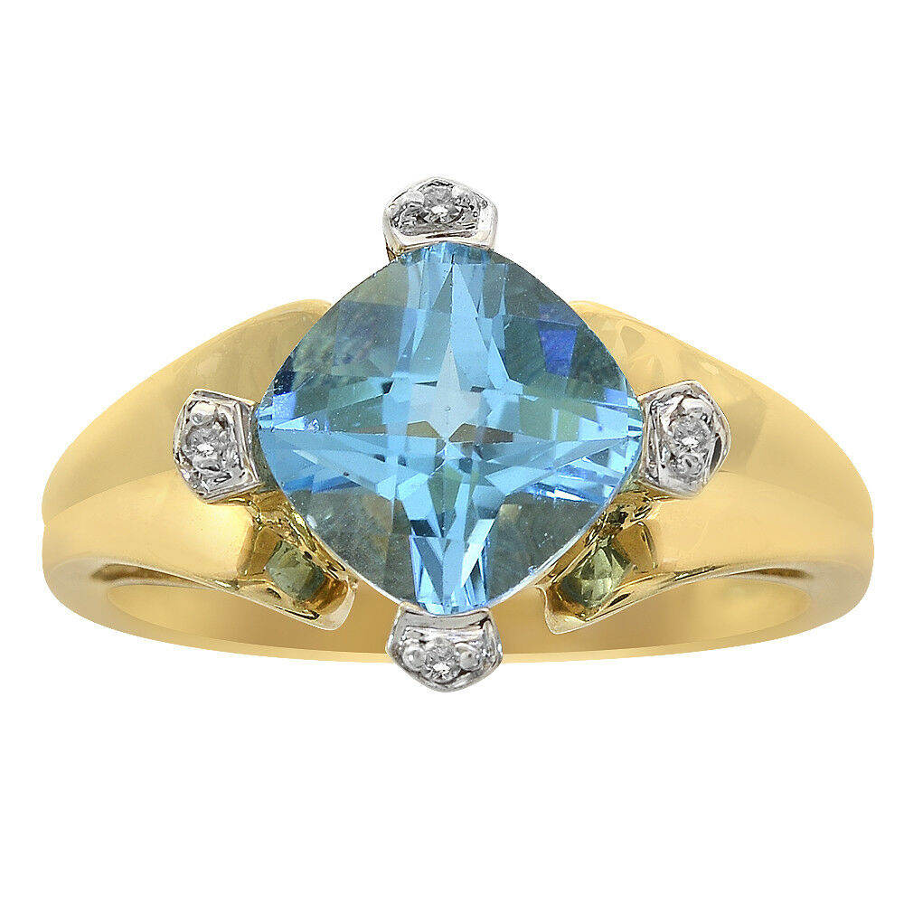 2.90 Carat Cushion Cut bluee Topaz & 0.04 Carat Diamond Ring 14K Yellow gold