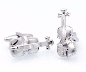 3D-Silver-Violin-Cufflinks-Music-Cuff-Links-Classical-Gemelos-100-for-7-items
