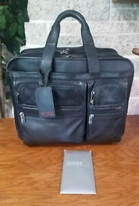 TUMI-ALPHA-BLACK-NAPA-LEATHER-WHEELED-DELUXE-EXPANDABLE-CARRY-ON-BRIEFCASE