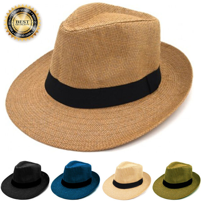 013de3c5a47 Gelante Mens Womens Summer Sun Wide Flat Big Brim Fedora Panama Straw Hat  Cap