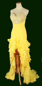 NWT-XCITE-Yellow-500-Long-Gown-High-Low-Prom-Formal-Evening-Size-10-Dress-NEW