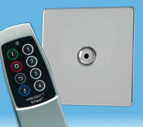 1 Gang à Distance//Touch DEL Gradateur Screwless Miroir Chrome /& scène Remote V-Pro IR