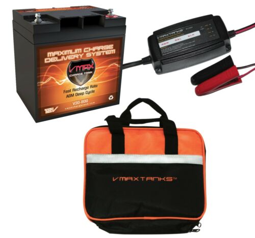 VMAX V30-800 + BC1204 3.3A CHARGER+ CASE 12V 30Ah AGM SOLAR BATTERY FOR CAMPING