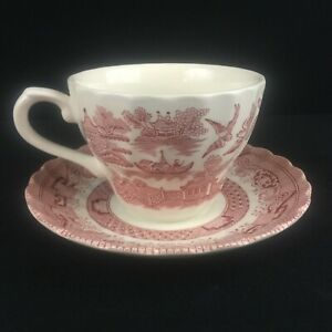 VTG-Cup-and-Saucer-by-Royal-Wessex-Willow-Rosa-Floral-Made-in-England