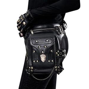 df6a99d603d Details about Men's Women's Leather Punk Steampunk Belt Bag Waist Leg Hip  Cyberpunk Pouch